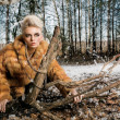 Woman Wearing Fur Coat - Stok fotoğraf