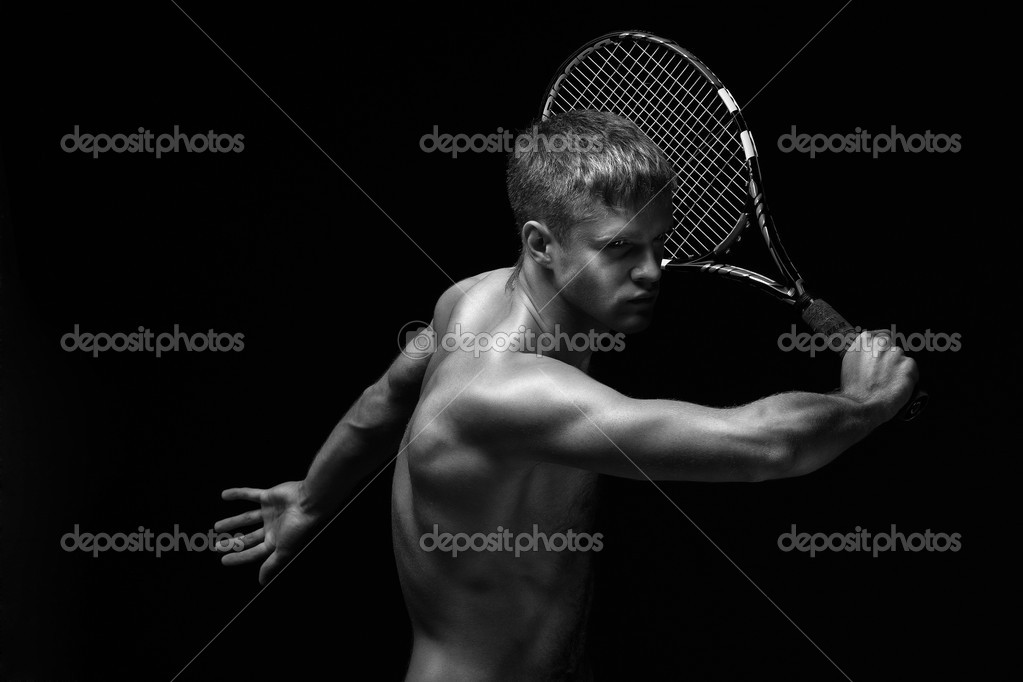 A man playing tennis with his shirt off — Stock Photo #3042548