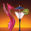 Womans shoe and cocktail - Stock Photo