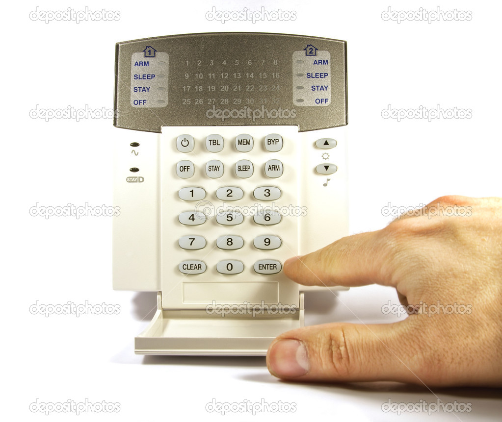 The hand enters a code on the security keyboard — Stock Photo #3174530