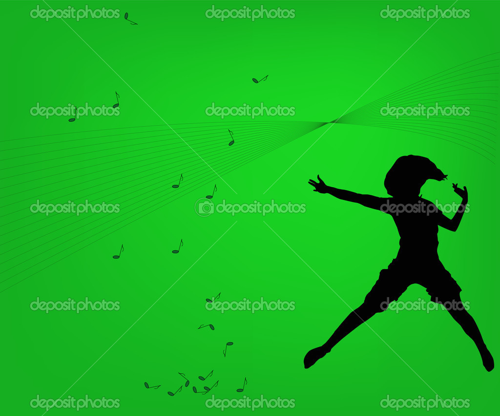 Background and silhouette of dancing girl — Stock Vector #3086060