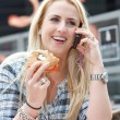 Beautiful blond on the phone — Stock Photo