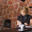 Pretty woman sitting in the bar — Stock Photo #2948669