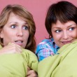 Two girl watching a scary movie — Stock Photo