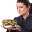 Loving my sandwich — Stock Photo