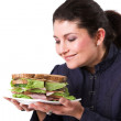 Looking forward to her sandwich — Stock Photo