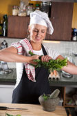Prepping the herbs — Stock Photo