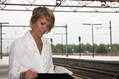 Working at the trainstation — Stock Photo