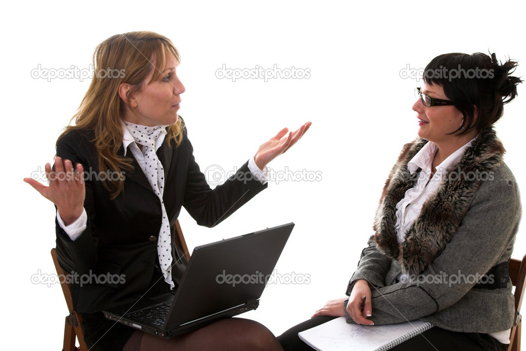 Two business women having a lively discussion on white background — Stock Photo #2948813