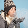 Stock Photo: Blowing the snow