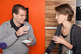 Flirting over coffee — Stock Photo
