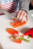 Cutting the pepper — Stock Photo