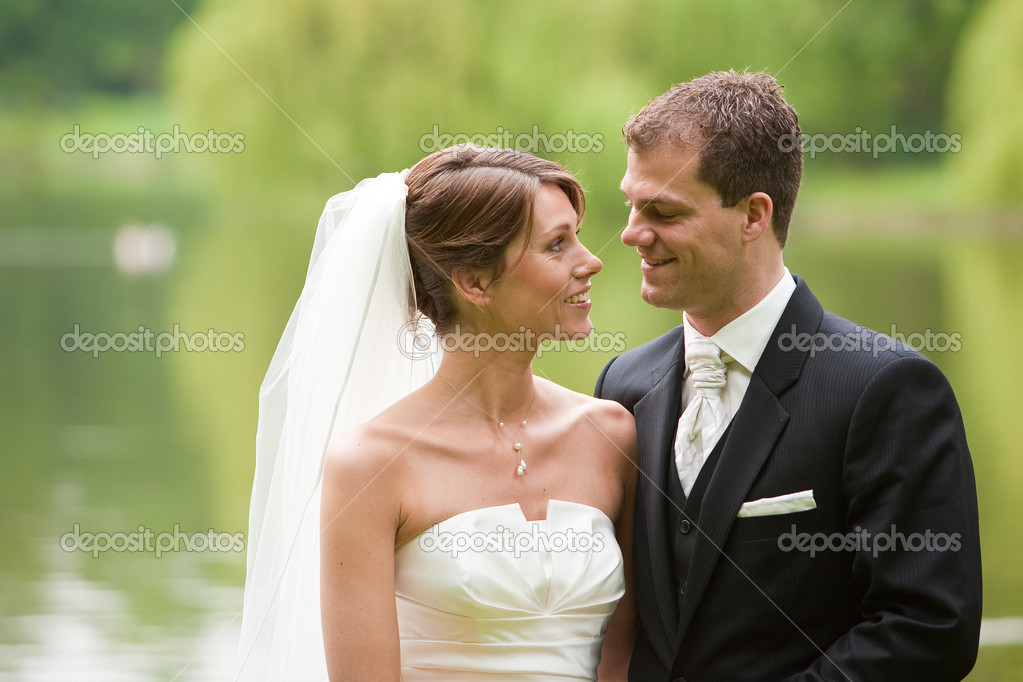 Attractive young couple ready on their wedding day  Stockfoto #3488254