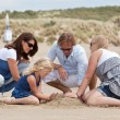 Building a sandcastle — Stock Photo