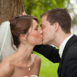 Royalty-Free Stock Photo: Bride and groom kissing