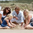 Buidling a sandcastle together — Stock Photo