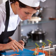 Chef styling an amuse — Stock Photo