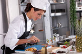 Beautiful chef working on her dishes — Stock Photo