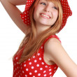 Cute girl with red dress and hat — Stock Photo