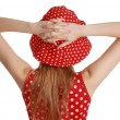 Girl with red dress and hat — Stok fotoğraf