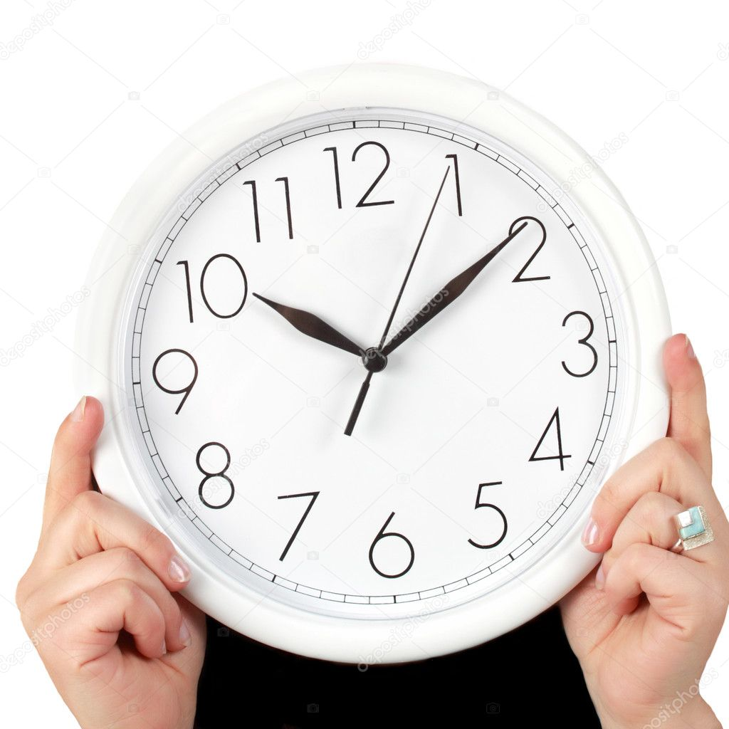 Woman's hand holding a clock, white background — Stock Photo #3227796