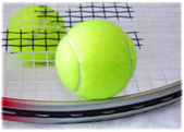 Tennis Racket and Balls — Stock Photo
