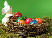 An Easter nest with an Easter hare — Stock Photo