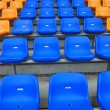 Blue and orange seat in stadium — Stock Photo