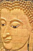 Gold color buddha head — Stock Photo