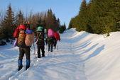 Turister på en snö spår — Stockfoto
