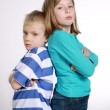 Stock Photo: Boy and girl after quarrel