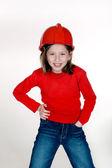 红色头盔的女孩 — 图库照片