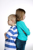 Boy and girl after quarrel — Stock Photo