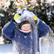 Stock Photo: Boy with avalanche on head.