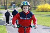 Young boy on bike. — Stock Photo