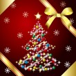 Vector de stock : Christmas Tree and ribbon