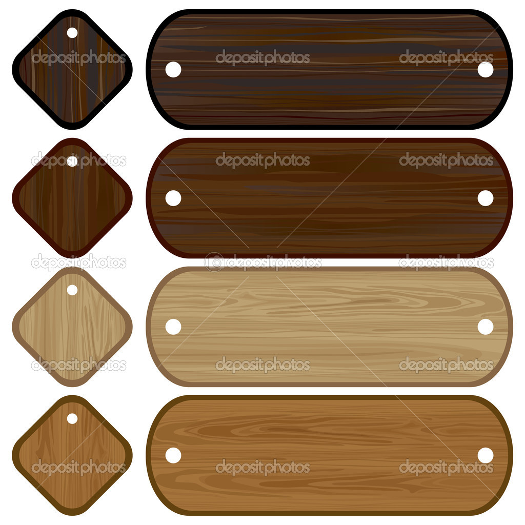 Wooden banners and labels set  Stock Vector #3111859
