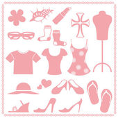 Women fashion icon sets — Stock Vector