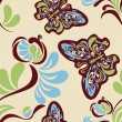Seamless flower and butterfly pattern — Stockvectorbeeld