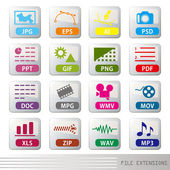 File extensions icon set — Vettoriale Stock