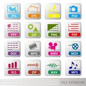 Zestaw ikon rozszerzenia pliku — Wektor stockowy