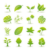 Green leaf icons set — Stock vektor