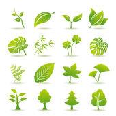 Jeu d'icônes de feuille verte — Vecteur