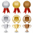 Gold silver and bronze award medals set. — Stock Vector