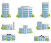 здание иконы set — Cтоковый вектор
