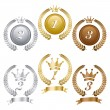 Stock Vector: Gold silver and bronze medals