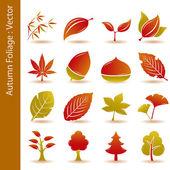 Autumn foliage leaf icons set — Stock Vector