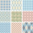 Seamless Check Pattern Set. - Stock Vector