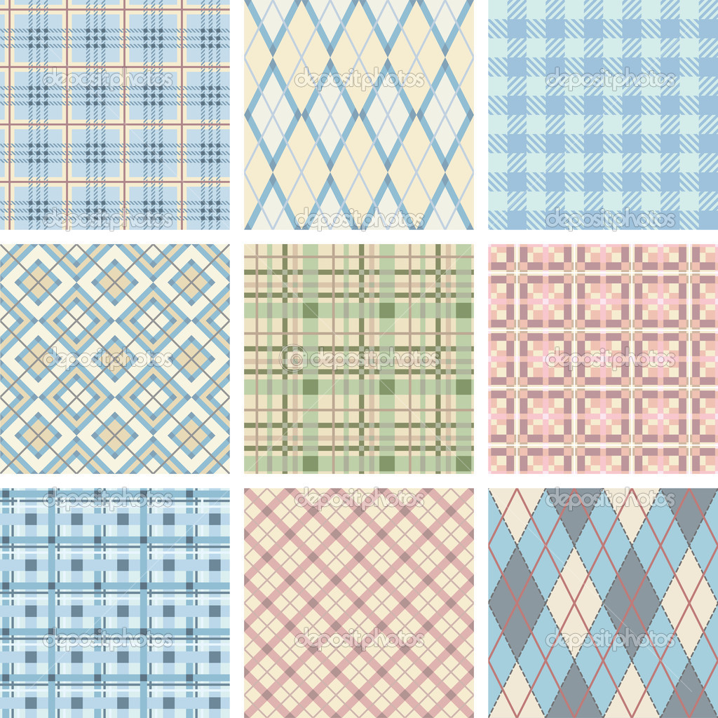 Seamless Check Pattern Set. Illustration vector. — Stock Vector #3693939