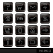 Glossy Black Icons Set — Stock Vector